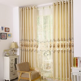 Golden Luxury Unique Pattern Embroidery Grommet Top Curtain