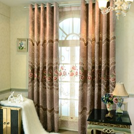 Elegant Floral Print High Shading Degree  Polyester Grommet Top  Curtain