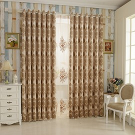 Elegant Beige High Shading Degree Polyester Grommet Top Curtain