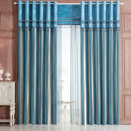 Modern Classic Vertical Stripe Red Blue Chenille Grommet Top Curtain