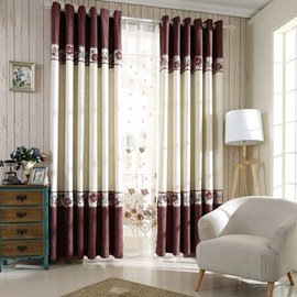 Decoration and Blackout Cotton and Linen Classical Damask Pattern 2 Panels Grommet Top Curtain
