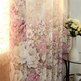 Luxury Peony Pattern Custom Sheer & Cloth Curtain Set