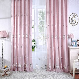 Super Cute Sheep and Rabbits Pattern Grommet Top Curtain and Sheer