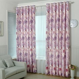 High Quality Jacquard Flower Pattern Grommet Top Curtain