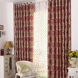 European Style Damask Jacquard Grommet Top Curtain