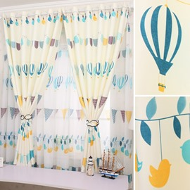 Lovely and Fresh Style Cartoon Design Pastoral Style Children Room Blackout Grommet Top Curtain