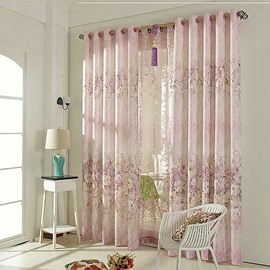 Elegant Pink Shading Cloth with Shading Cloth Romantic Style Grommet Top Curtain