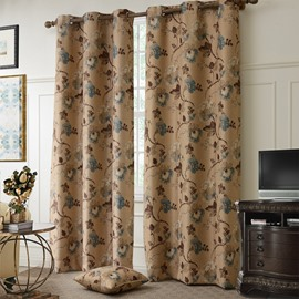 Contemporary Lovely Floral Pattern Grommet Top Curtain