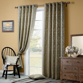 Elegant Floral Pattern Grommet Top Curtain
