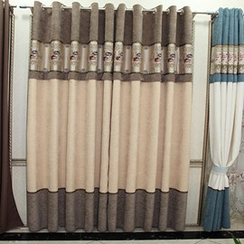 Chenille Jacquard Grommet Top Blackout Curtain Panel