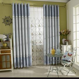 Concise Color Block Grommet Curtain Panel