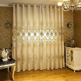 Chenille Embroidered Classic Beige Grommet Top Curtain
