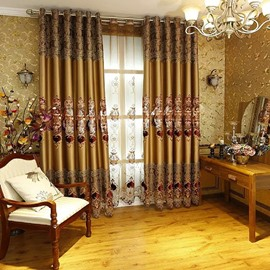 Decoration Artificial Embroidery Silk Fabric European Style Golden Grommet Top Curtain