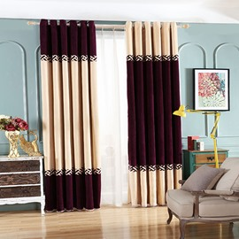 Double-Colored Asymmetric Pattern Grommet Top Blackout Curtain Panel