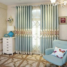 Decoration and Blackout Polyester Embroidered Velvet Elegant Style Grommet Top Curtain