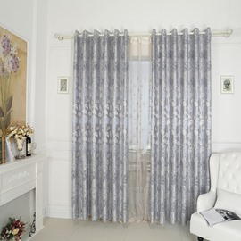 High-Quality Water Lily Pattern Grey Grommet Top Curtain
