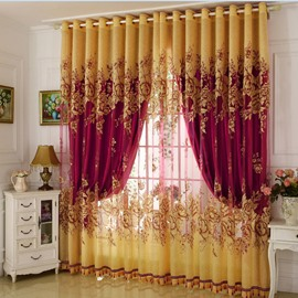 Classical Burgundy Blackout Curtains Gilding Carving Sheer and Solid Lining Living Room Bedroom Curtain Sets No Pilling No Fading No off-lining