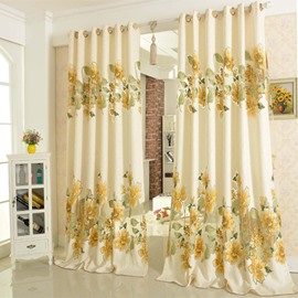 Country and Modern Style Hollow-out Jacquard Beige Flowers Living Room Decorative Curtain