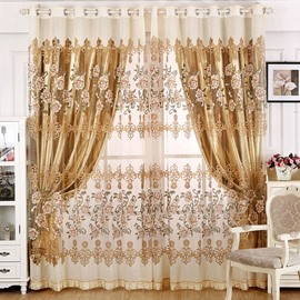 European Style Peony and Damask Graphic Print Shading Cloth & Sheer Set