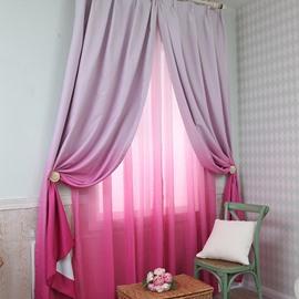 Room Darkening Gradient Color Rose Red Custom Curtain