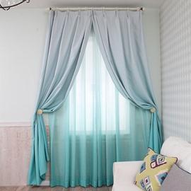 Room Darkening Gradient Color Lake Green Custom Curtain