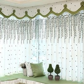 Country Style Green Willow Twig Embroider Custom Grommet Top Curtain