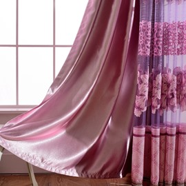 Concise Solid Purple Shading Cloth Grommet Top Curtain