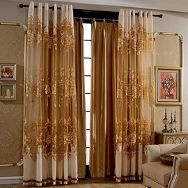Decoration European Style Solid Golden Living Room Curtain Shading Cloth