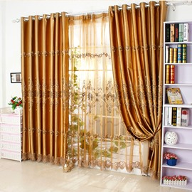 Golden Luxury Damask Embroidery Artificial Silk Grommet Top Curtain