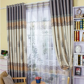 Wonderful Tree Printing Shading Cloth and Sheer Curtain Sets for Living Room