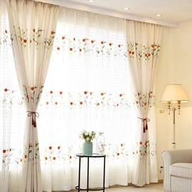 Super Cute Jacquard Ladybugs and Flowers Grommet Top Curtain