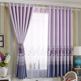Lovely Purple Horse Printing Grommet Top Curtain