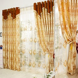 Luxury Golden Damask Jacquard Grommet Top Curtain