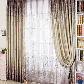Romantic Tree Printing Purple Thicken Blackout Grommet Top Curtain