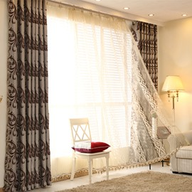 Jacquard in Double Side Thicken Chamois Blackout Grommet Top Curtain