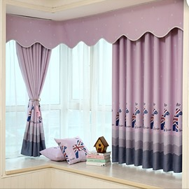 Cute Purple Horse Printing Grommet Top Curtain with Valance