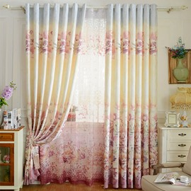 Pastoral Decor Floral Printing Pink Jacquard Grommet Top Curtain