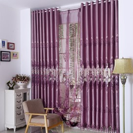 European Style Luxury Purple Embroidery Floral Grommet Top Curtain