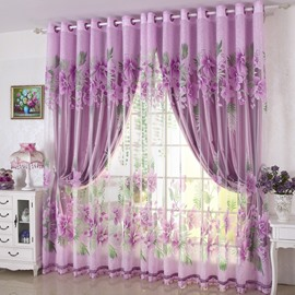 Concise Purple Solid Grommet Top Custom Lining Curtain
