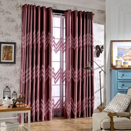 Designer Embroidery Purple Waves Pattern Grommet Top Curtain