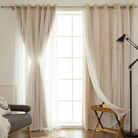 Blackout Romantic Beige Sheer and Shading Cloth Sewing Together Grommet Top Custom Curtain Sets