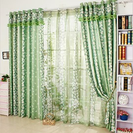 Country Style Green Floral Printing Custom Curtain with Valance