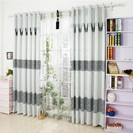 Contemporary Black Jacquard Chenille Custom Curtain