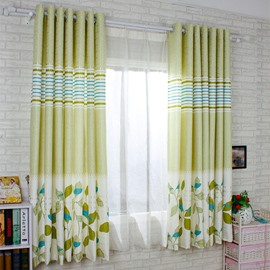 Light Green Leaf Printing Energy Saving Custom Curtain