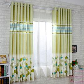 Light Green Leaf Printing Energy Saving Custom Curtain