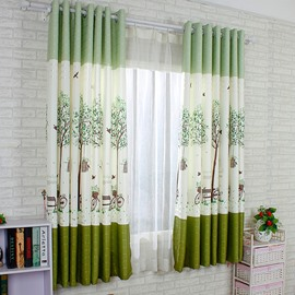 Cute Green Tree Printing Energy Saving Custom Curtain