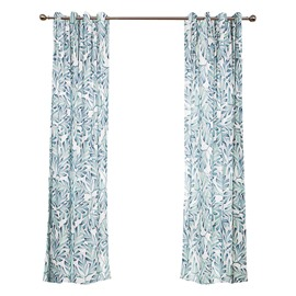 Rustic Light Blue Leaf Printing Window Decoration Custom Curtain