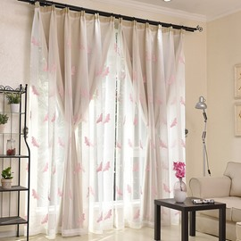 Pink Butterfly Embroidered Sheer and Beige Cloth Sewing Together Window Decoration Custom Curtain