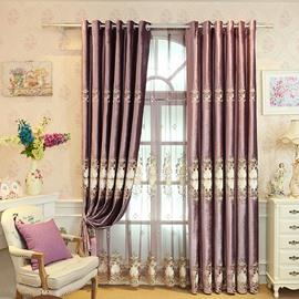 Purple Chenille Damask Pattern Burnout Custom Blackout Curtain
