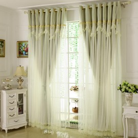 Princess Style Green Sheer and Cloth Sewing Together Blackout Custom Curtain with Lace